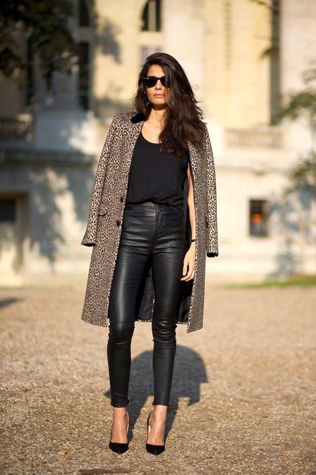 Le Fashion Blog -- Paris Street Style: Barbara Martelo -- Ray-Ban Wayfarer Sunglasses, Saint Laurent Leopard Print Coat, Leather Pants & Black Heels -- Via Harpers Bazaar -- photo Le-Fashion-Blog-Paris-Street-Style-Barbara-Martelo-Leopard-Coat-Leather-Pants-Via-Harpers-Bazaar.jpg