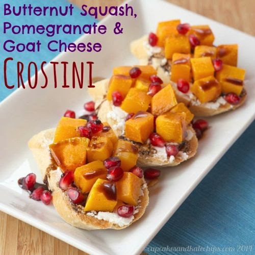 Butternut Squash Pomegranate and Goat Cheese Crostini