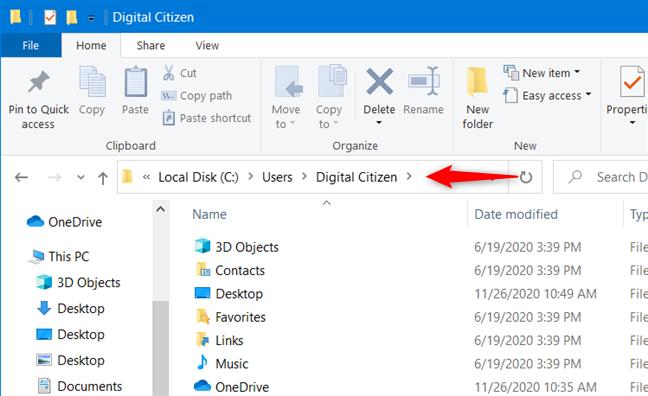 Una carpeta de cuenta de usuario de Windows 10