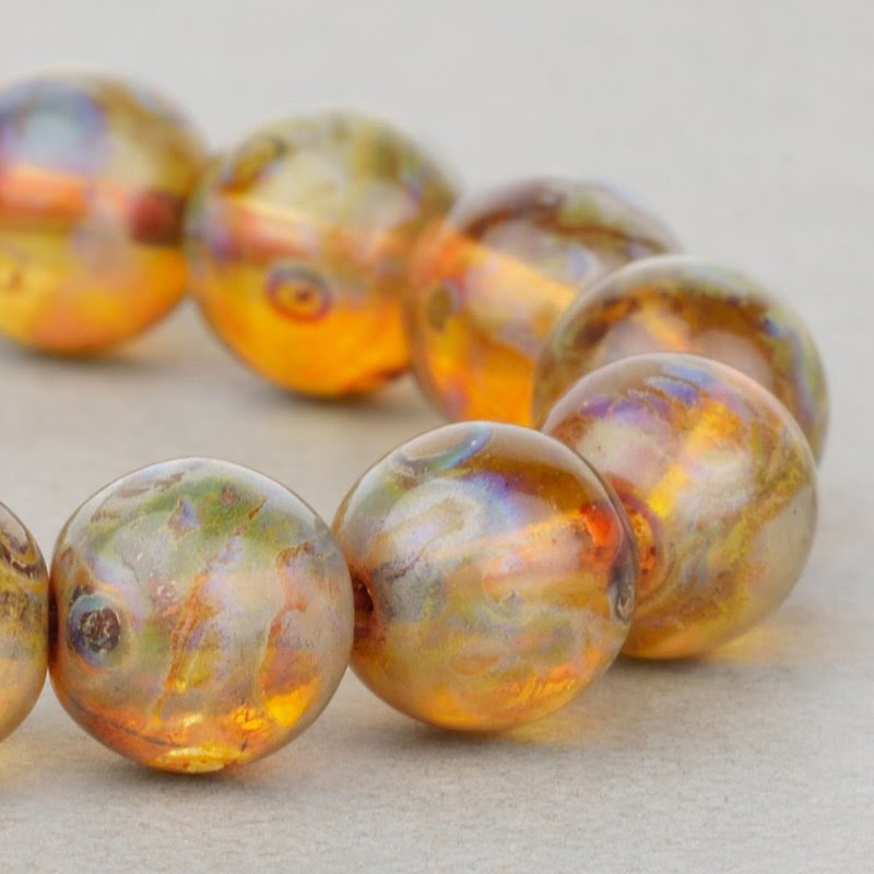 s49135 Czech Glass - 8 mm Round - Shaded Amber Picasso (25)