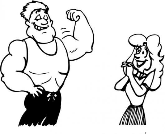 Dibujo De Hombre Musculoso Impresionando A Una Mujer Para Pintar Y