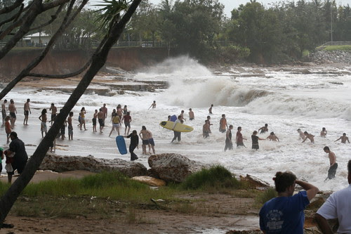 Swimmers enjoying an unusual swell