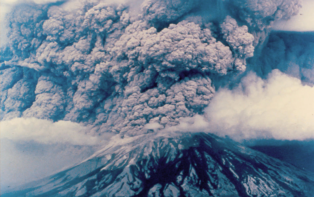 Mount St. Helens: Eruption, May 18, 1980, from East. Photo: DNR