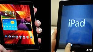 Dispositivo de Samsung frente a uno de Apple