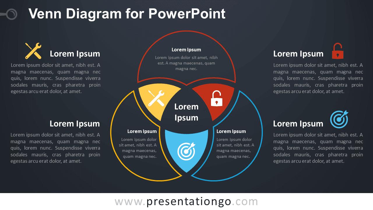 Venn Diagram Template PowerPoint Dark