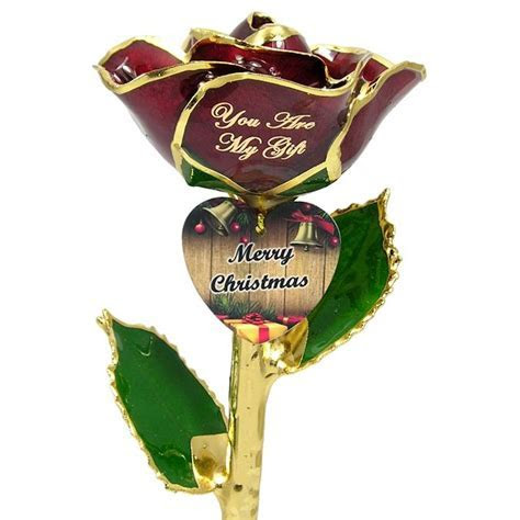 Personalized Christmas Rose Gift and Engraved Heart: Love
