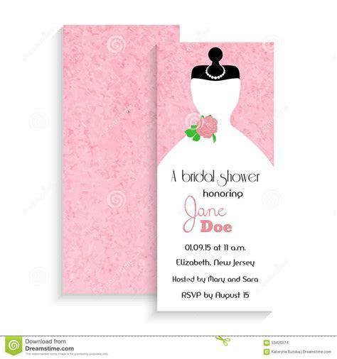 Bridal Shower Invitation Card. Vector Illustration On Pink