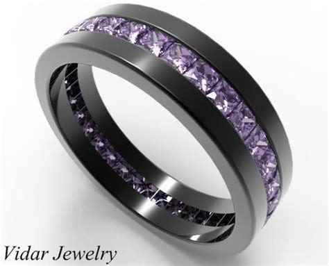 mens wedding bandblack gold princess cut amethyst wedding