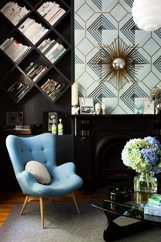 gorgeous chair! diagonal shelves are different too - but would only work for books?
