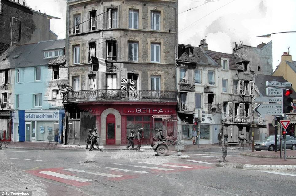 Marching on: Allied soldiers are seen on the move past shops from then and now in these fascinating pictures of France from the Left Behind series