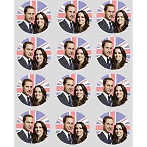 12 Royal Wedding rice paper fairy / cup cake 40mm toppers pre cut decoration Prince William
