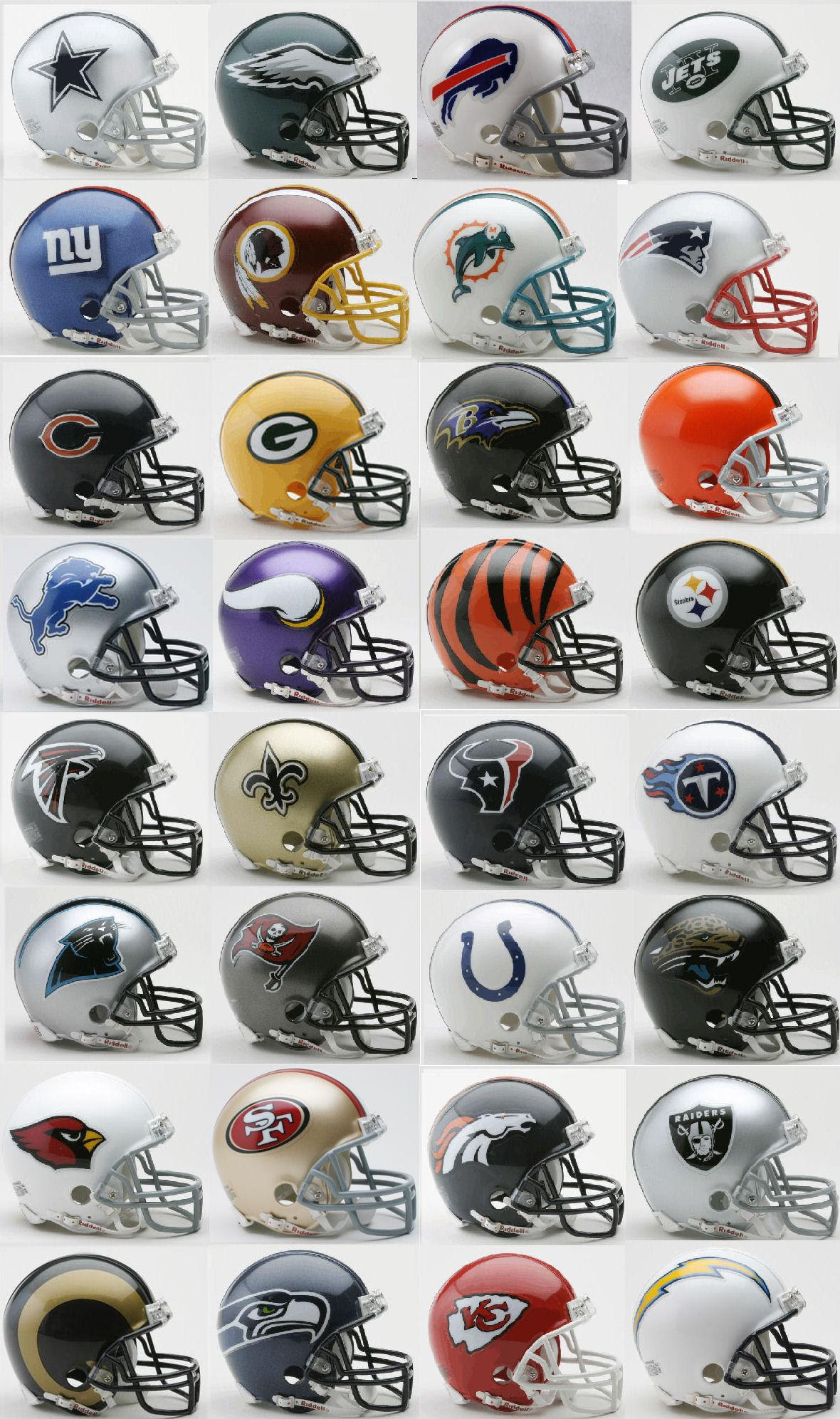 Mini Football Helmet 32 Nfl Teams Complete Set Riddell