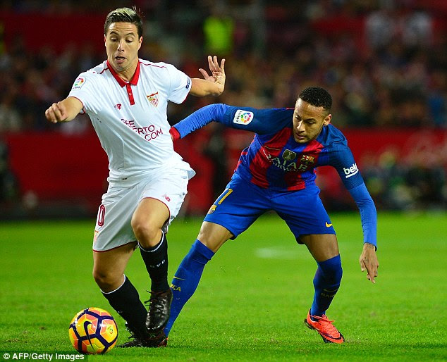 Samir Nasri has looked impressive since joining Sevilla on loan and he looked to get on the ball