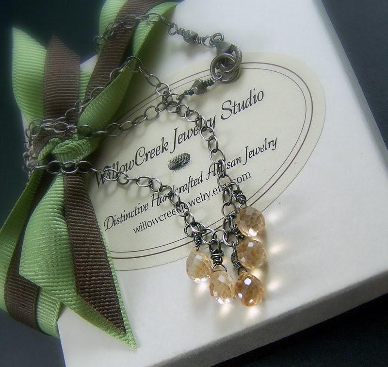 Sterling Silver Necklace Apricot Mystic Quartz Briolette - Champagne Fizz
