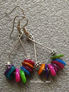 Wire Wrapped Shell Earrings - Vibrant and Fun