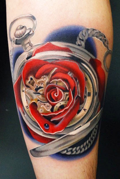 Clock And Rose Tattoo By Andres Acosta Design Of Tattoosdesign Of