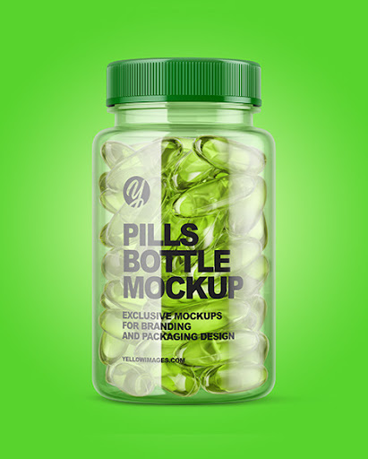 Download Clear Bottle With Soft Gel Capsules Mockup PSD Mockup Templates