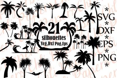 Palm Tree SVG Flamingo Clipart silhouette cut files commercial use cricut