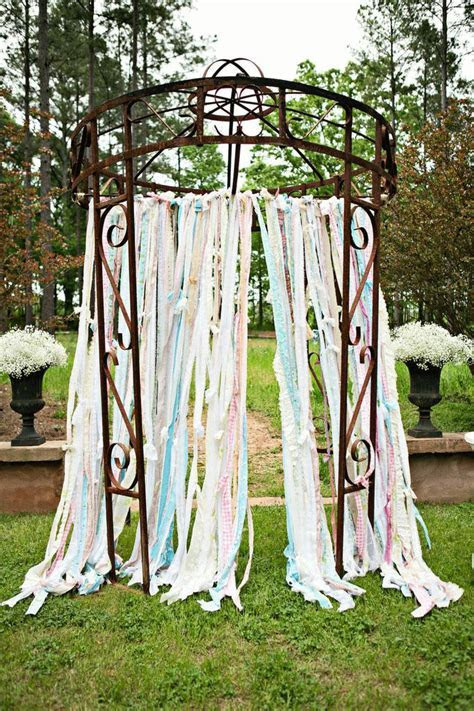 Vintage Lace and Fabric Strips Backdrop   Wedding ceremony