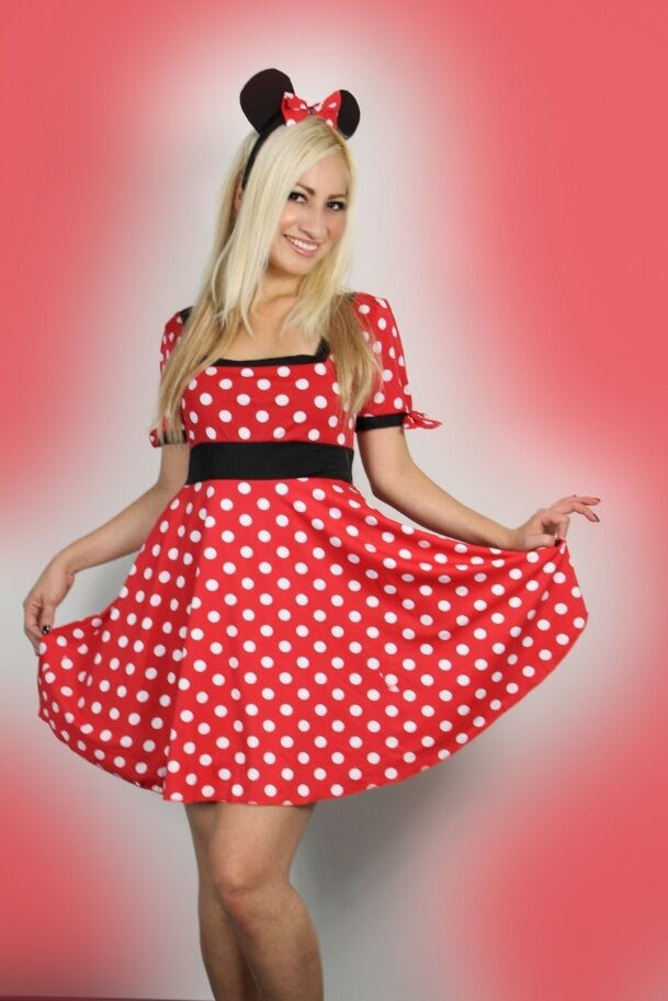 sexy womens halloween ladies minnie red mouse fancy dress