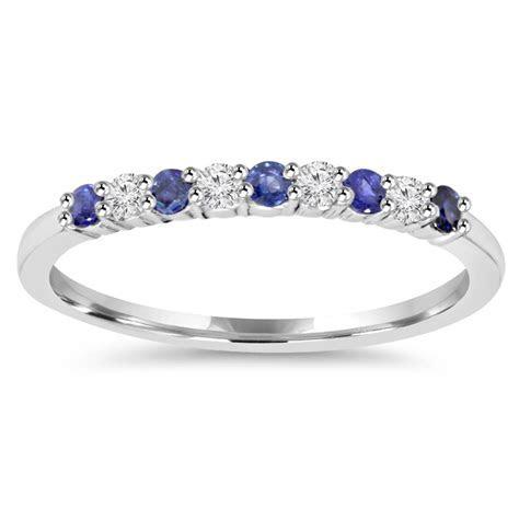 1/4Ct Blue Sapphire & Diamond Wedding Ring 10K White Gold