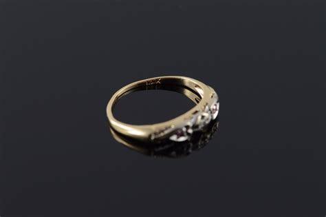 14K 1950's Genuine Diamond Two Tone Vintage Wedding Band