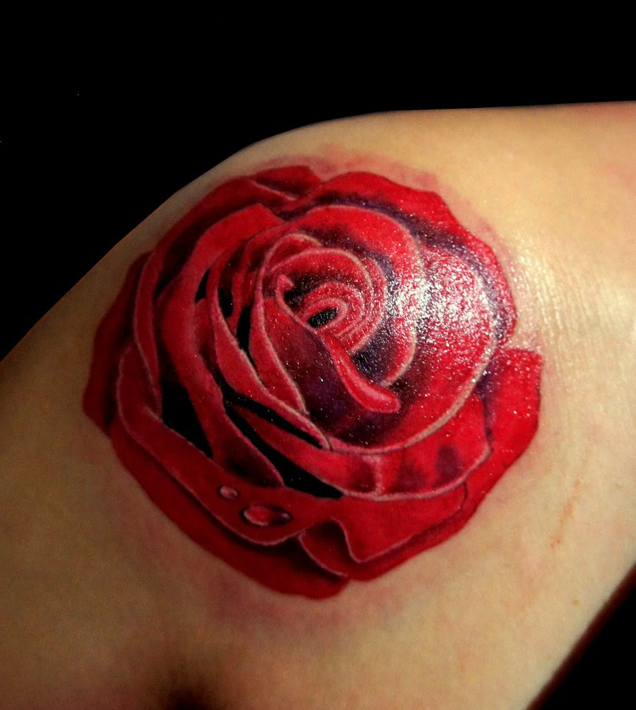 Amazing Red Rose Shoulder Tattoo Design For Women By Inagugo