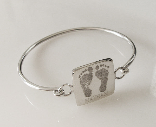 Sterling Square Bangle Bracelet for Custom Handprints or Footprints