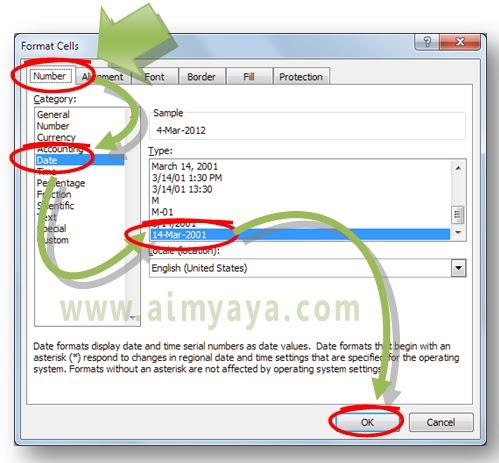 Gambar: Cara format cells sebagai tanggal di Microsoft Excel