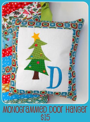 Monogrammed Holiday Door Ornament