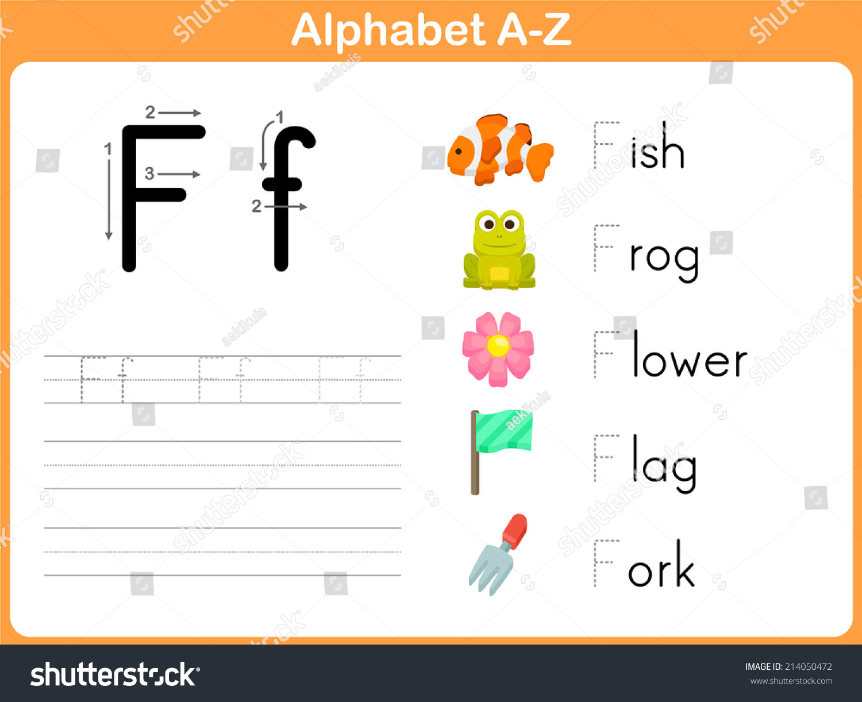 Alphabet Tracing Worksheet Writing Az Stock Vector 214050472 ...