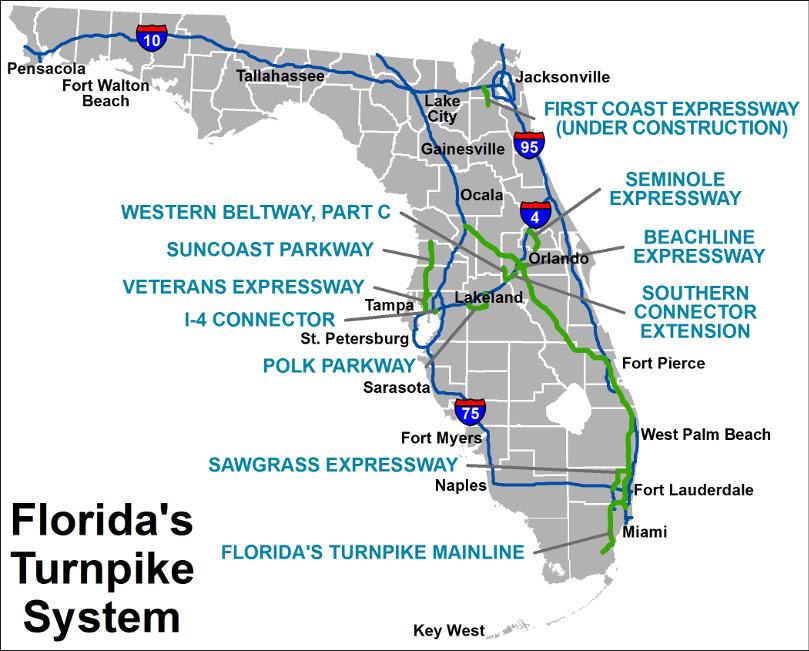 Autoroute En Floride Sunpass Floridas Turnpike Et Plus
