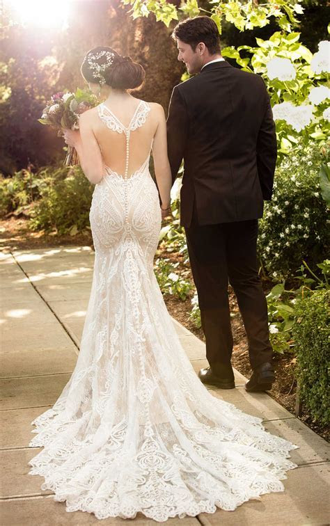 Lace Wedding Gown with High Neckline   Martina Liana