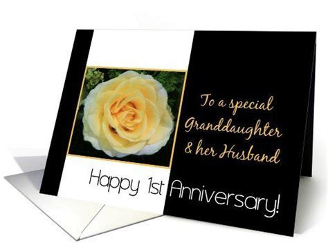 1st Wedding Anniversary card for granddaughter and Husband