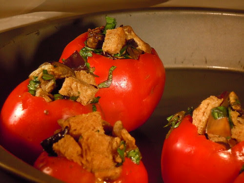 Eggplant Stuffed Tomatoes