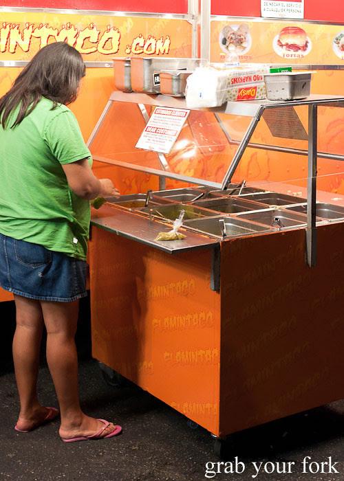 salad and salsa bar at el flamin taco truck in little korea, los angeles