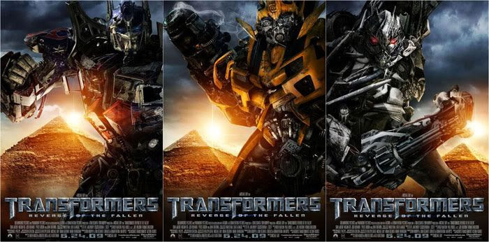 Character posters for Optimus Prime, Bumblebee and Starscream.