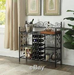 Floor Standing Wine Rack Furniture Black Table Storage Bottle Glass