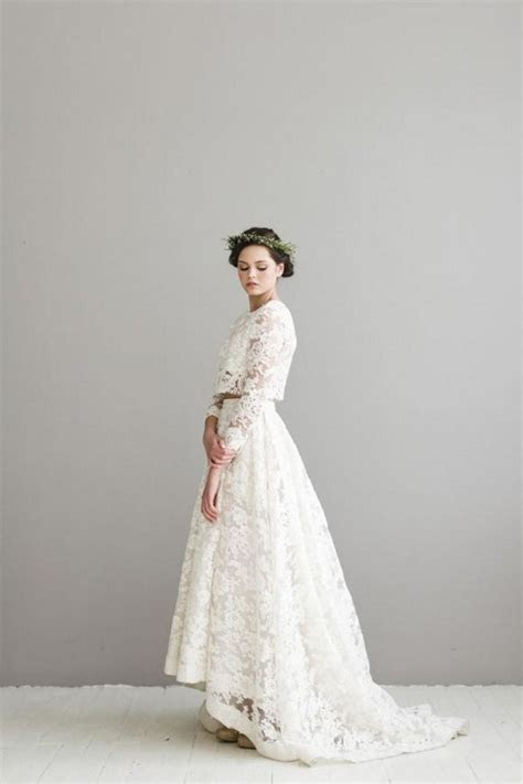 Two piece Lace Wedding Dresses 3/4 Long Sleeves Hi lo