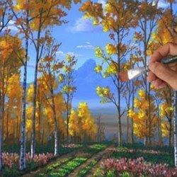 Peindre Forêt Peupliers Leçon Complete Acrylique Toile Automne