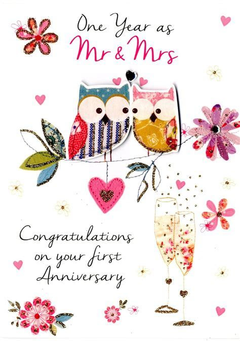 First Wedding Anniversary Greeting Card   Cards