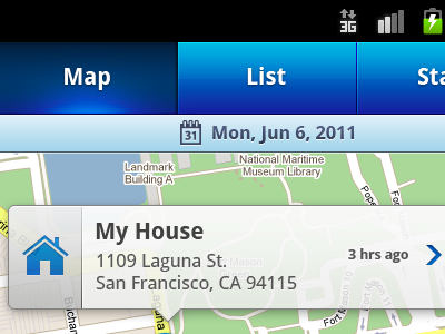 Simple mobile Android map view blue gradient interface