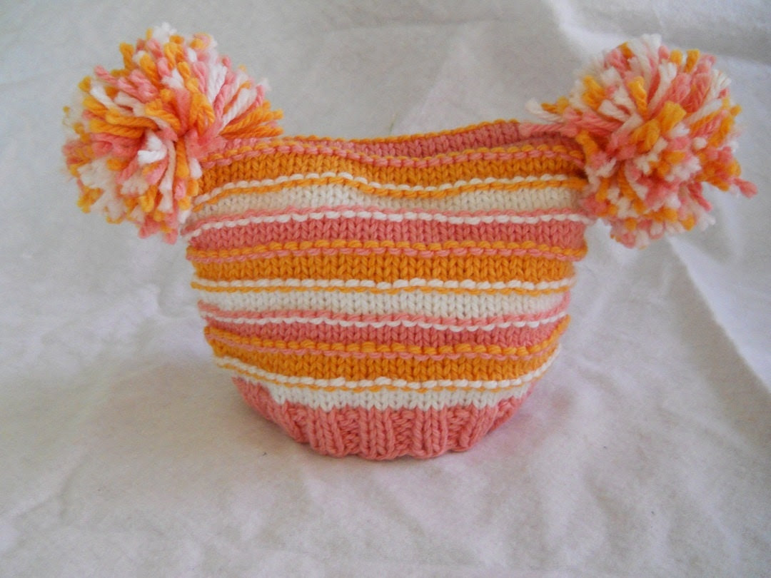 Stripey Pom Pom Hat.  Ready Made Ready to Ship. Great Photo Prop :)