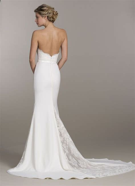 Ivory lace and crepe trumpet bridal gown, sweetheart