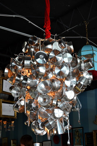 stainless steel chandelier at Amelie's French Bakery