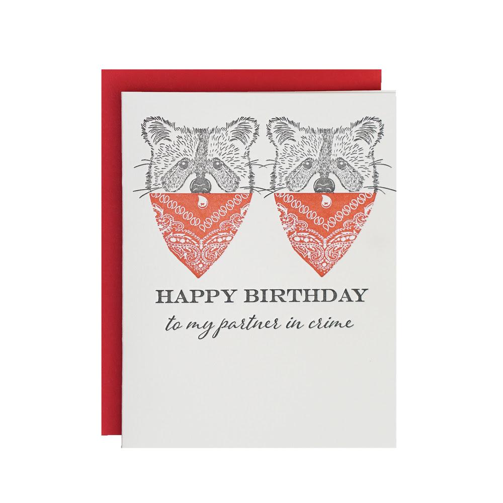 Partner In Crime Letterpress Birthday Card Riva Letterpress