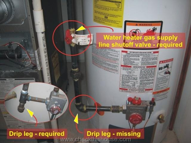chicago new condo water heater inspection gas line shutoff valve and drip leg are required
