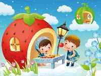 Puzzle en ligne, la maison-fraise