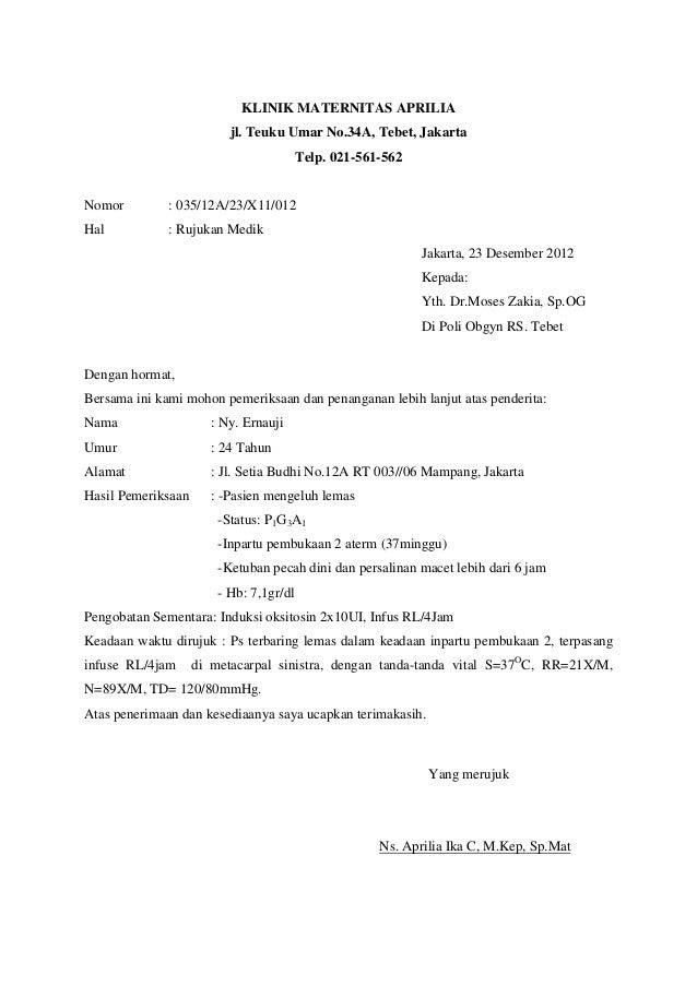 Contoh Surat Rujukan Klinik Gigi Contoh Surat