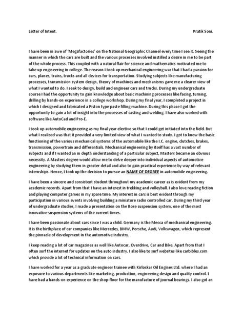 Statement of purpose for german university   Engineering   Car